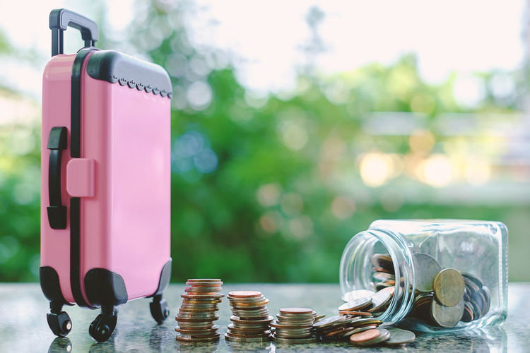 Travel Business Coin Container Currency Day Finance Focus On Foreground Glass - Material Investment Jar Luggage Money Outdoors Pink Color Savings Wealth