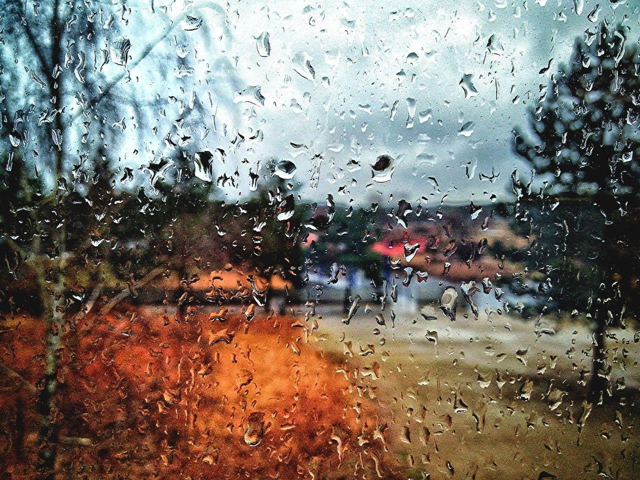 VIEW OF RAIN DROPS ON WINDOW