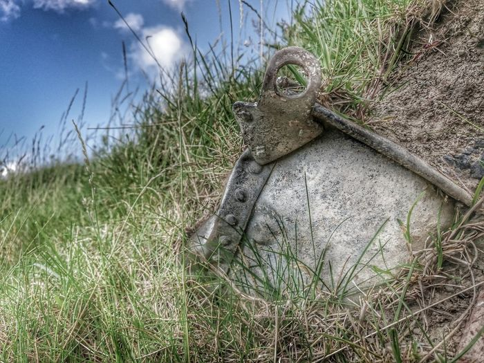 Bucket Exposed Burried Rustygoodness Left Behind Hdr Edit Hdr Snapseed Sony Xperia Z3 Blue Skys Grassy Studded Metal Art Abandoned Wrottenandspooken