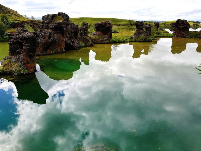 EyeEm Selects Reflection Water Outdoors Beauty In Nature Sky Nature Scenics Iceland Iceland_collection Water Reflections Rock Formation Lake Myvatn Beautiful Nature Beautiful Tranquility Tranquil Scene Cloud - Sky