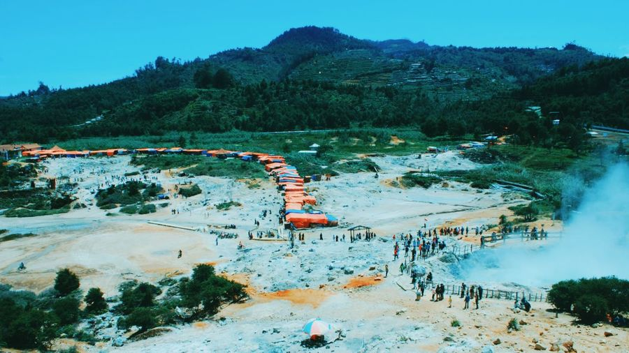 Crater sikidang location from dieng banjarnegara indonesia