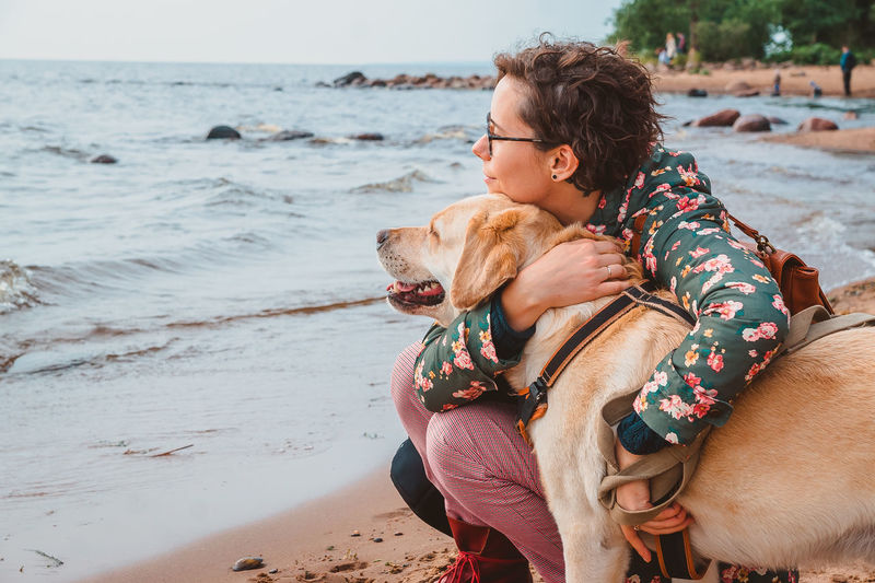 A girl and a labrador retriever hug on a sandy beach and look at the water in autumn. walking