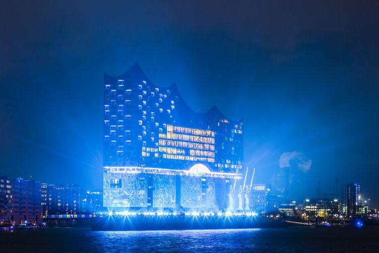 Architecture Blue City Colorful Elbphilharmonie Elbphilharmony Hamburg Harbor Illuminated Lightshow Modern Night Opening Reflection Water