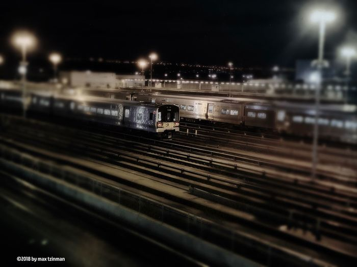 Hudson Yards Night Rail Transportation Track Railroad Track Night Illuminated Public Transportation Train Transportation Mode Of Transportation City