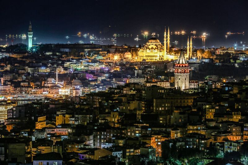 Galata towers Night Illuminated Cityscape Arts Culture And Entertainment Outdoors Sky Go Higher Nightlife City No People Architecture