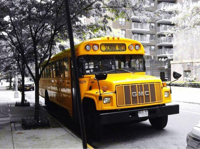 New York New York how i love you Battle Of The Cities New York City Autobus Blackandwhite Yellow Colorblocking Bestcityintheworld Transportation Parked Streetphotography