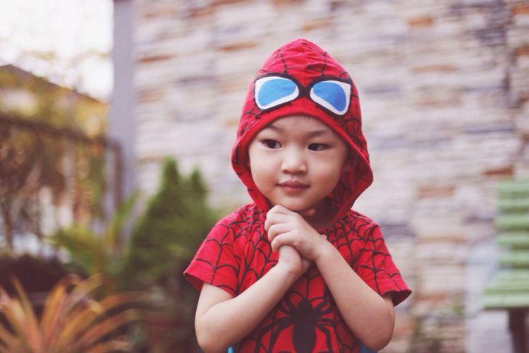 Spidey Child Child Spiderman Child Childhood One Person Portrait Front View Cute Innocence