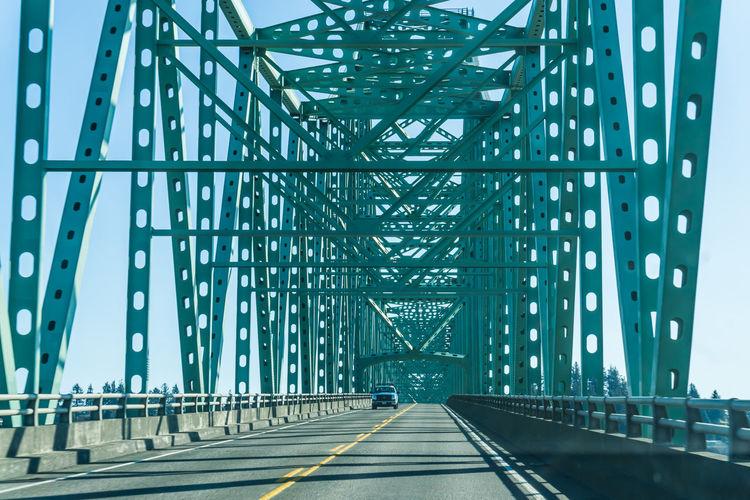 View of bridge against blue sky