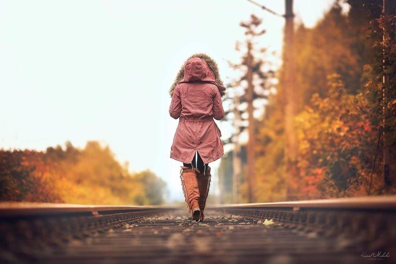 My way Full Length Casual Clothing Outdoors Nature Fall Fall Beauty Fall Colors Fall Leaves Atumn Railway