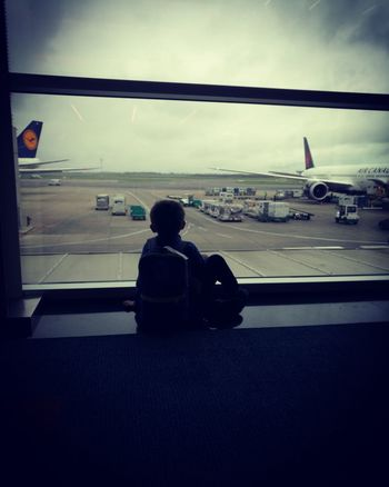 Airplane Wing Airport Departure Area Airpot Journey One Person Planes Sky Transportation