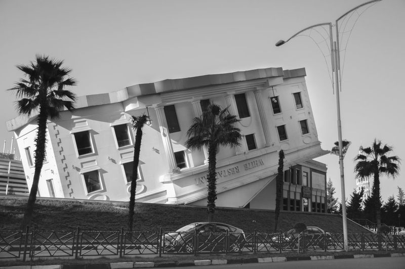 Architecture Batumi Batumi City Black And White Black And White Photography Building Exterior Built Structure Clear Sky Day Georgia Low Angle View No People Outdoors Palm Tree Tree Upside Down Building
