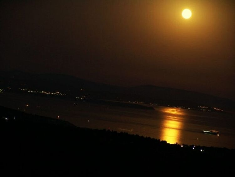 This side: Greece Chios Island. Other side: Turkey Cesme, Turkey Follow the Moon Light Path to Reach Out and Connect... Learn & Shoot: After Dark Full Moon