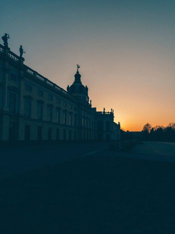 Charlottenburg Palace Charlottenburg  Landmark Berlin Architecture Built Structure Building Exterior Clear Sky Outdoors Statue Sunset Silhouette No People Sky Low Angle View