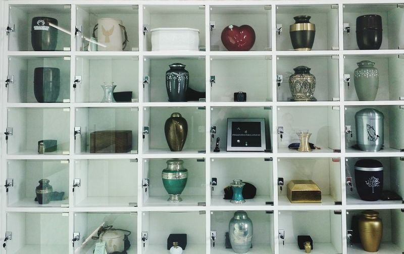 Shelf In A Row Large Group Of Objects Order Urn Urns Ashes Cremation Of Human Cremation Ceremony Cremation Ecologically Correct Enviroment Enviromental Religion And Tradition FreewILL