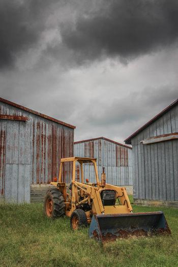 Barn Built Structure Cloud Cloud - Sky Cloudy Decay Deterioration Farm Farm Equipment Field Grass Overcast Rural Scene Rust Shed Sky