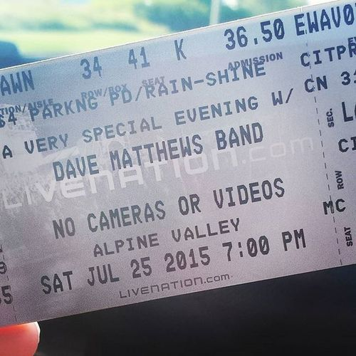 Here we go!Davebound Alpinevalley Davemathewsband Datenight antsmarching birthdaypresentisfinallyhere