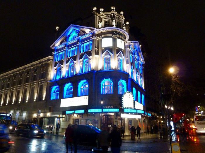 Novello Theatre London Night Illuminated Architecture Building Exterior Built Structure Large Group Of People Low Angle View