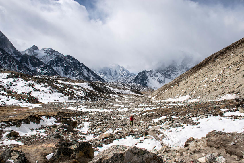 Nepal Connected By Travel Beauty In Nature Cold Temperature Hiking Mountain Mountain Range Nature One Person Snow Snowcapped Mountain