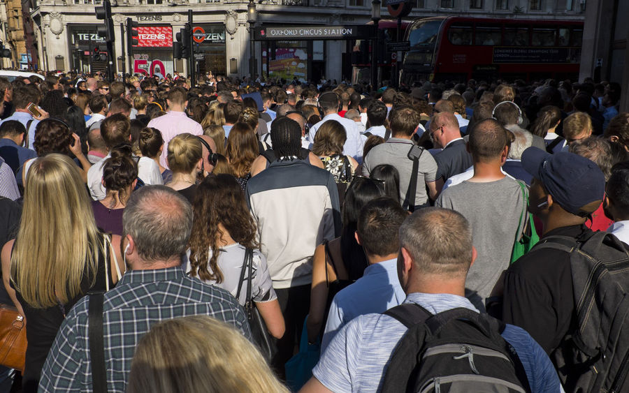 People outside the underground station in Oxford Street on 3rd of July 2018 in London, United Kingdom. Oxford Circus is a London Underground station serving Oxford Circus at the junction of Regent Street and Oxford Street and is the third busiest station in London. (photo by Lorenzo Grifantini) Tube Adult City Life Commuter Crowd Crowded Group Of People Large Group Of People Mode Of Transportation Oxford Street  Real People Street Transportation Underwater Walking