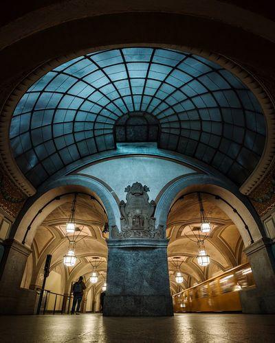 underground. Bahnhof Underground Station  U Bahn Weilwirdichlieben Bvg Arch Architecture Built Structure Illuminated Indoors  Low Angle View