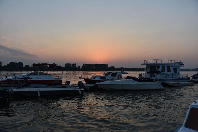 Dunav Zemun Beauty In Nature Boat Harbor Nature Nautical Vessel No People Outdoors River Sky Sunrise Sunset Water