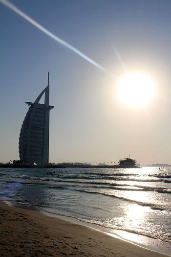 Burj El Arab Eyesight Sea Sky Sun Sunlight Sunny Sunset Water