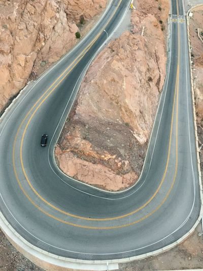 High Angle View Of Car On Winding Road
