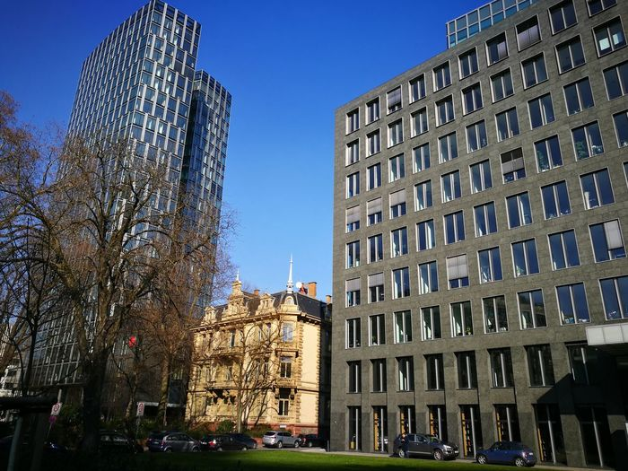 Gebäude Architektur Stadt Business Offices Büros Dazwischen Between Alt Old Historisch Modern Historical Eingezwängt Himmel Blauer Himmel Blau Blue Blue Sky Architecture Building Exterior Built Structure Outdoors Low Angle View Christmas Decoration Day City Sky No People The Architect - 2018 EyeEm Awards
