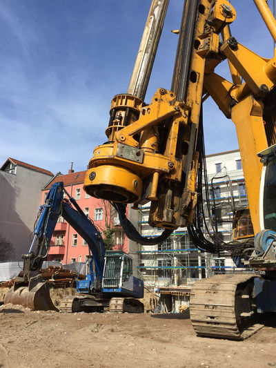 Construction machineries at site
