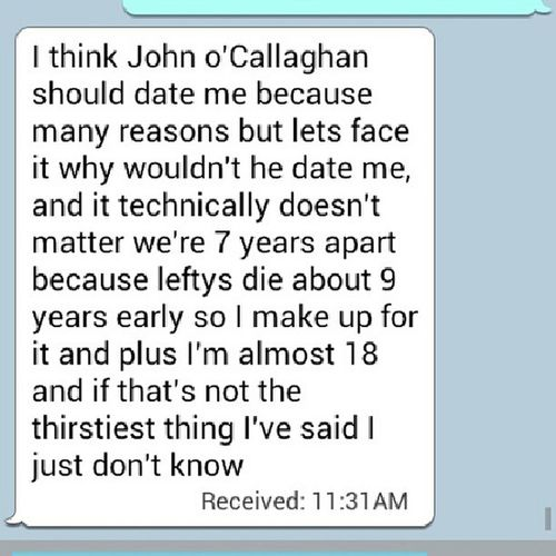 Probably the best text I've gotten from Amanda Johnocallaghan Themaine Bandguys @adorkablegrl