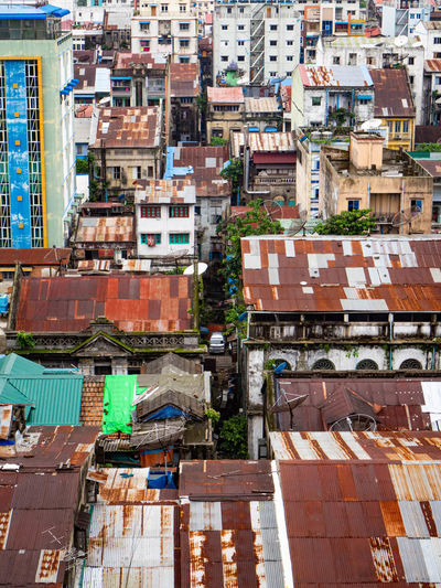 High angle view of old buildings in yangon, myanmar