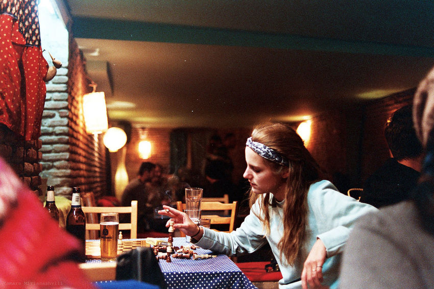 Bartender having a break Hanging Out Girl Smoking Night Photography Night Life Bar Film Is Not Dead I Still Shoot Film Analog Photography Nikon F3 Black Astral Photojournalism Documentary Photography Smoking Girls Cigarette  Low Light Photography Portrait Of A Woman Women Around The World