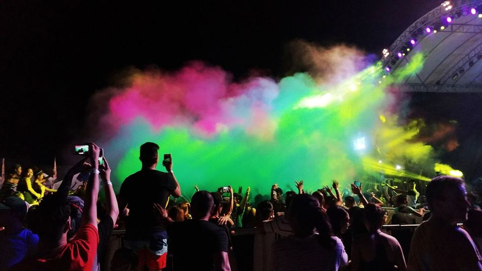 Love Dance. Crowd Performance People Audience Illuminated Multi Colored Night Nightlife Music Festival Holi Holi Powder Colors Colorful Events Dj Smoke Fantastic Enjoy Fun Dance Place Of Heart