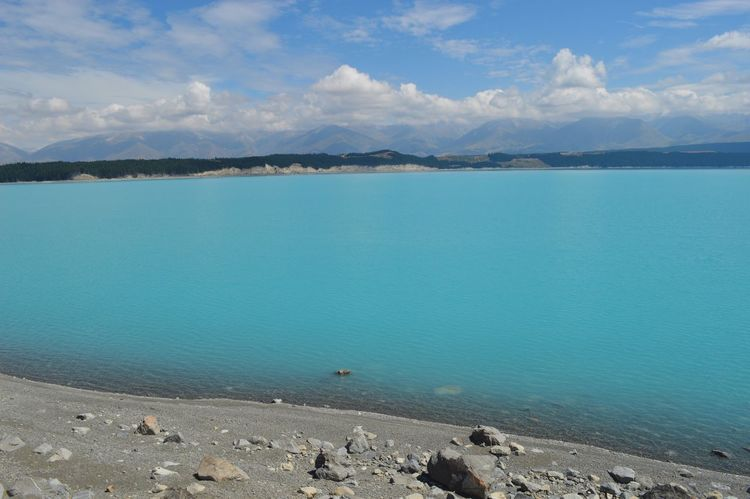 Lake Pukaki Aoraki Lake Pukaki Turqouise Water New Zealand Nature Beauty In Nature Water Scenics Sky Tranquility Tranquil Scene Cloud - Sky Blue Day Outdoors Beach No People Mountain