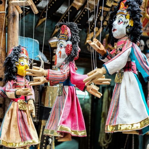 Cultures Outdoors Day No People Puppets Nepal Nepali Culture Wood Craft Colorful Hindu Goddess Streetphoto_color Street Photo ArtWork Art And Craft Art Artphoto Tradition Traditional Art Workmanship Strings Attached Toys Toyphotography