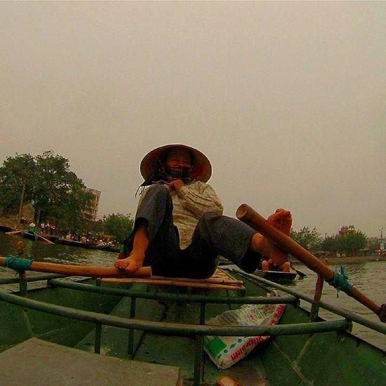 Tamcoc river in Vietnam Gopro Hero3 boat