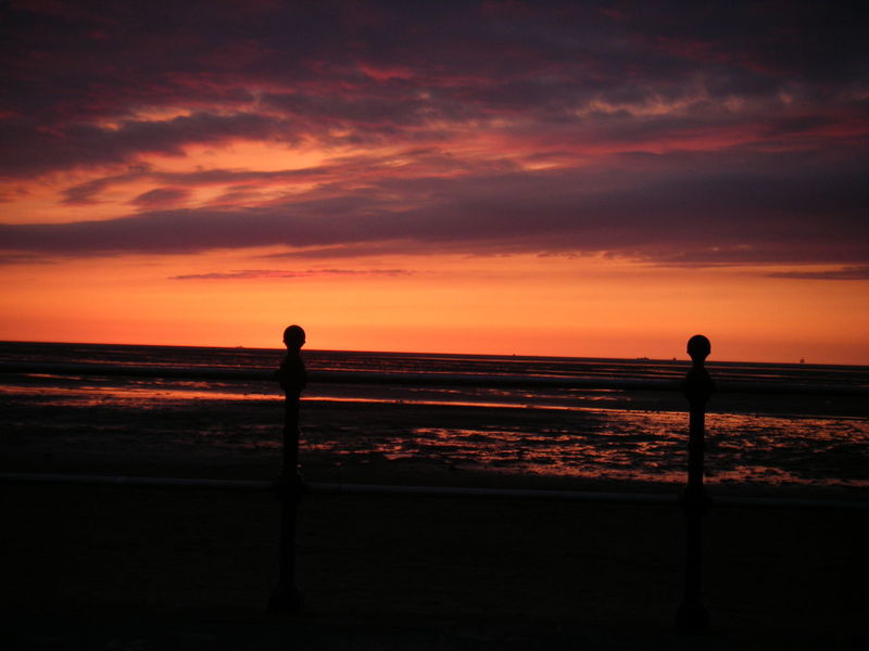 Sunset Sky Clouds Beach Water Water Reflections Orange Sky Alight Railings Seaside Waterfront Natural Beauty
