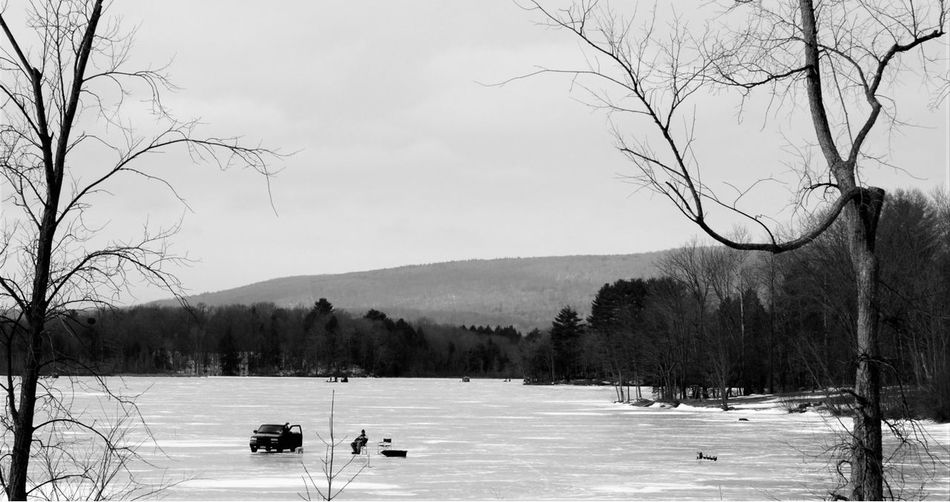 Ice Fishing Nikonphotography Photography Wintertime On A Nice Day Nature New York State Capture The Moment Upstate NY Blackandwhite