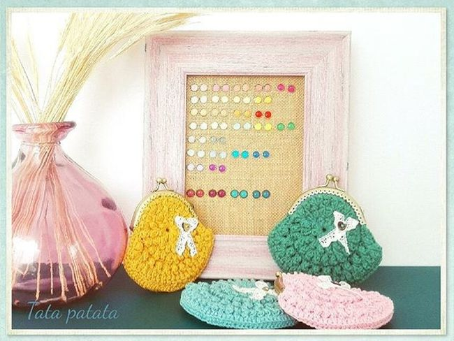 Monederos y Pendientes de Tatapatata para morirse del Amor 💕 Jewelry Earrings Coinpurse Crochet Handmadewithlove Handknitted Handmade Chic Shabbychic Mori Hime Pink Spring Summer