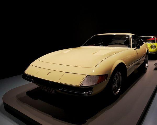 Ferrari Daytona Black Background Yellow Car Vintage Car Collector's Car Vintage Vehicle Hood Retro Auto Mechanic Sports Car