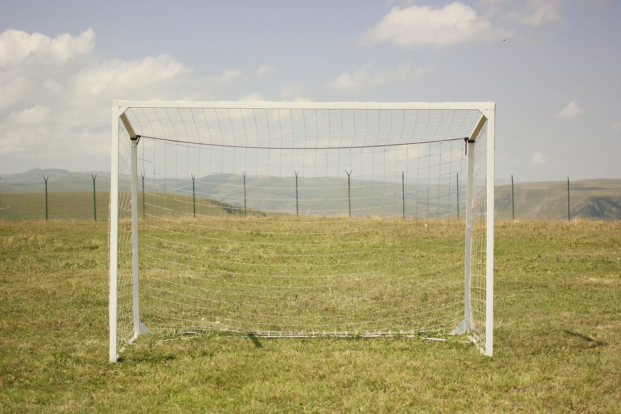 Soccer goal on grassy field
