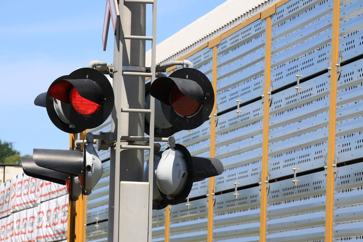 Low angle view of road signal