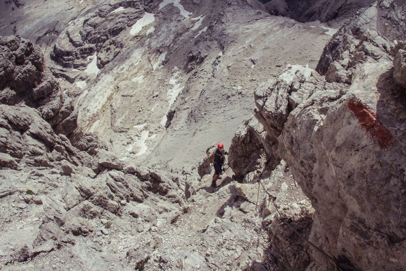 High Angle View Day Outdoors Real People Nature Nature Backpack Steep Climbing Hiking Ferrata  Mountain Landscape RISK Scenics Italy Breathing Space