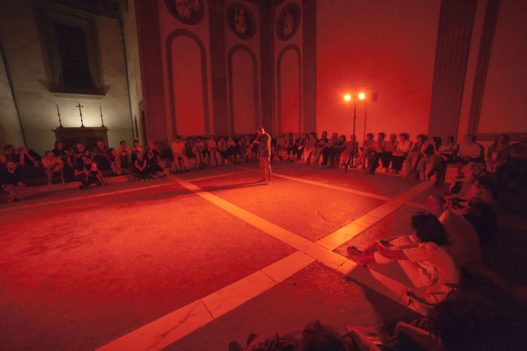 Florence, Santa Croce church and cloister. Adult Architecture Arts Culture And Entertainment Audience Crowd Dancing Group Of People Illuminated Indoors  Large Group Of People Leisure Activity Lifestyles Men Night Nightlife Performance Real People Sitting Stage Waiting Watching Women