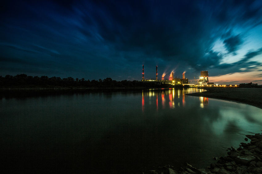 Power Stations Beauty In Nature Blue Calm Cloud Cloud - Sky Cloudy Dramatic Sky Idyllic Illuminated Nature No People Outdoors Overcast Reflection Scenics Sky Standing Water Tranquil Scene Tranquility Travel Destinations Water Weather