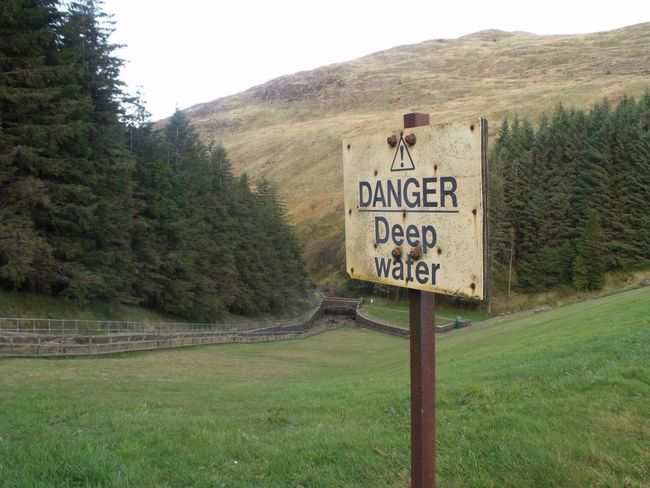 Scenic Hills Hill Grass Rock Warning Warning Sign Danger Danger Sign Deep Water Caution ⚠️ Scenery Check This Out Ayrshire, Scotland Afton Dam New Cumnock Trees Trees And Sky Treescape