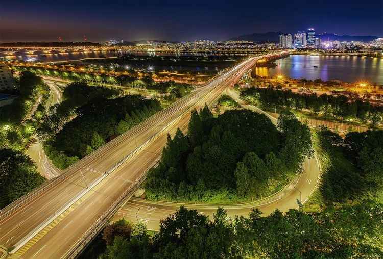 Live For The Story Cityscape Landscape Outdoors Korea Night Illuminated Long Exposure Building Buildings & Sky Buildings River Water Travel Night Photography Nightshot Nightview Bridges Bridge View Longexposure Rooftop Rooftop Scenery Rooftopphotography Rooftop View  10