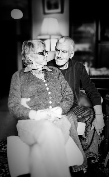 Black And White Older Couple Love