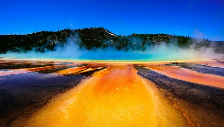 Idyllic Shot Of Hot Spring And Smoke At Yellowstone National Park Against Sky