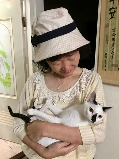 Mammal One Animal Domestic Animals Domestic Pets Domestic Cat Cat Real People One Person Clothing Feline Indoors  Vertebrate Lifestyles Front View Portrait Hat Pet Owner